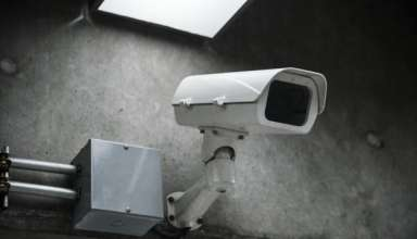 Closeup of CCTV camera on the wall